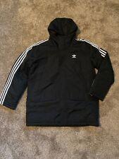 NWT Adidas Men's Padded Parka Black XL ED5834 Three Stripes Winter Coat Hooded