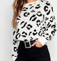 New Ladies Womens Long Sleeve Knitted Leopard Print Jumper Pullover Top Sweater