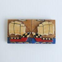 Boucle - bois peint Art Déco - 78 mm - XXe - Art Déco painted wood buckle