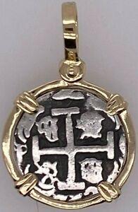 ATOCHA Coin Design Pendant 1600-1700 14k Yellow Gold Treasure Shipwreck Jewelry