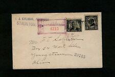 RARE 1925 JJ Kivlighan, Postmaster STAUNTON, VA Registered Scott# 623 FDC w/#610