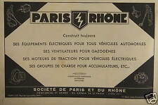 PUBLICITÉ PARIS RHÔNE VENTILATEURS POUR GAZOGENES MOTEURS DE TRACTION