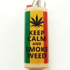 Rasta Keep Calm & Smoke Weed Lighter Case Holder Sleeve Cover Fits Bic Lighters