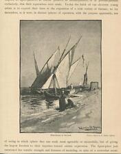 ANTIQUE NILE RIVER CARIO EGYPT SAIL BOATS FISHING BOULAK  R. SWAIN GIFFORD PRINT
