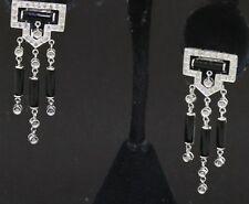 14K white gold elegant .66CT diamond & 9 X 3mm onyx chandelier earrings