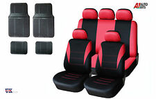 SPORTY TO FIT PEUGEOT 207 306 307 407 RED CAR SEAT COVERS & RUBBER MATS SET