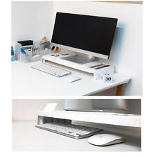 LED LCD Monitor Stand Cradle Desk Organizer Office Various Storage Tray White