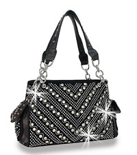 Rhinestone Chevron Design Black Suede Concealed Weapon Zip Pocket Handbag