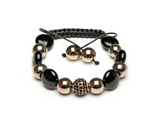 Shamballa Bracelet UK Onyx Pyrite Gemstone Black Crystal Gold Pave Crystal
