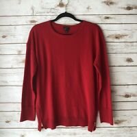 Talbots Women Petite XL Red Solid 100% Merino Wool Long Sleeve Pullover Sweater
