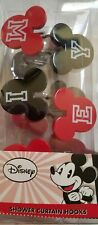 NEW DISNEY MICKEY MOUSE EARS RED BLACK SET OF 12 SHOWER CURTAIN  HOOKS