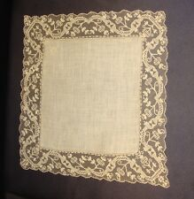 Fine Antique Hand Made Filet Lace Edged Wedding Handkerchief Nice Condition