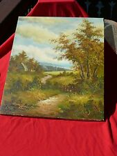 Vintage Unframed Oil/Canvas CABIN in WOODS MOUNTAIN STREAM Signed Artist Y Stone