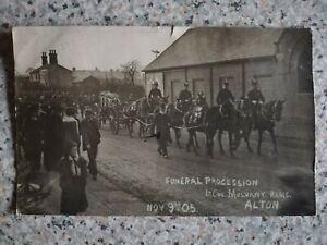 Rare vintage RPPC funeral procession Lt Col Mulvany RAMC 1905 Alton military