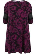 womens size 14 purple and black all over floral print swing dress.