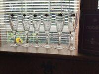 6 Vintage Kristal Zojecar Nobility Crystal Champagne Flutes W/stickers