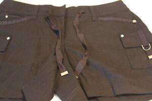 White House Black Market Black Linen Blend 5 IN 7 Pocket Draw String Shorts 0