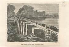 Digue du grand bassin de Lampy près de Saint-Ferreol sur la GRAVURE 1883