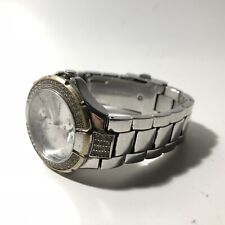 Vintage Ladies Guess Watch Silver Tone With Cubic Zirconia
