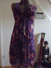 Karen Millen 100% silk purple/orange/pink print dress size 14