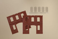 Auhagen kit 80523 NEW HO 2 WALLS 2391C RED AND WINDOWS