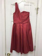 David's Bridal Size 2 Over One Shoulder Side Zip Burgundy Dress