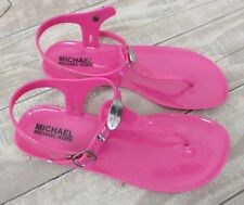 Michael Kors Jelly Hailey Hot Pink Rubber T-Strap Sandal Kid's Size: 4