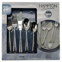 Hampton Forge Signature Raine Hammered 20-Piece Flatware Set, Stainless Steel