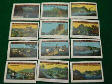 1920s German Rhine Travel Poster Stamps Lot of 27 In Nice Condition -PS3