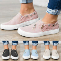 Womens Casual Canvas Denim Loafers Sneakers Pumps Ladies Slip On Flat Shoes