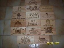 Lot de 15estampes bois façades caisse vin de Grands Crus Classés