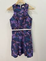 Carven Blueberry Print Pleated Dress With Pockets Size 36 EUC