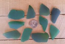 SEA GLASS - Frosted  Green - Beach Glass,  Large Size Craft Glass  - 10 Pieces