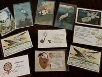 ~Cute~Lot of 11~Vintage~Greetings Postcards with Storks~Baby Announcements~b945