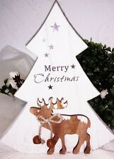 Fit Tree Wood Reindeer Bell Deco Merry Christmas Shabby Country House Vintage