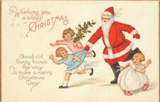 """Jolly Christmas"" Blindfolded Santa Claus 1926 Vintage Greetings Postcard"