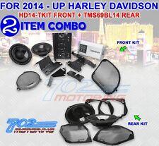 ROCKFORD FOSGATE HD14-TKIT FRONT AUDIO KIT + TMS69BL14 REAR AUDIO KIT FOR HARLEY