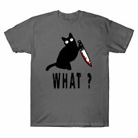 Funny Cat What? Black Cat Lovers Men's T-Shirt Murderous Cat With Knife Gift Tee