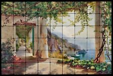 36x24 View to the Amalfi Kitchen Backsplash Mural Tumbled Marble Tiles