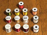 13 Spools Mixed Thread & Floss, Fly Tying, NR