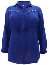 New Ladies Blouse Top Plus Size 24 26 30 32 Blue Fringe Chiffon Shirt   189