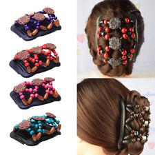Retro Magic Hair Combs Stretchy Beaded Double Hair Clips Hair Accessories