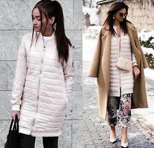 Zara Long Down Jacket Front Zip Ultra Light Puffer Coat Pearl M 10 UK 38 EU 6 US