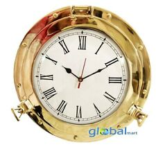 10inch Polished Finish Brass Porthole Analog Marine Ship Porthole Nautical Clock