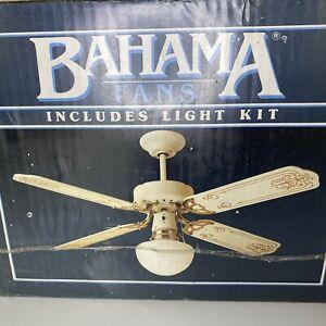 "Vintage Bahama 42"" Designer Fan White Polished Brass 4 Blades W/ Light Kit! NEW!"