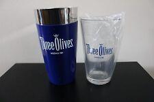 Three Olives Vodka Shaker TIn w Three Olives Pint Glass Purple  New in Box