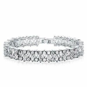 Multi Row Marquise & Round Cut 28.95CT Cubic Zirconia Tennis Engagement Bracelet