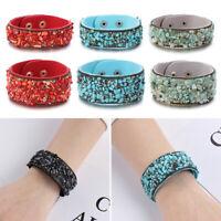 Frauen Velvet Charme Leder Cuff Bangle Natürlicher Stein Armband aus Kristall