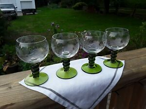 Crystal Snifters With Etched Grapevine Pattern And Green Base. Brandy, Whiskey