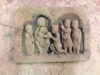 Krippe Jesus Kind Familie Relief Wandbild Sandstein Look Steinguß W 32 GRAU